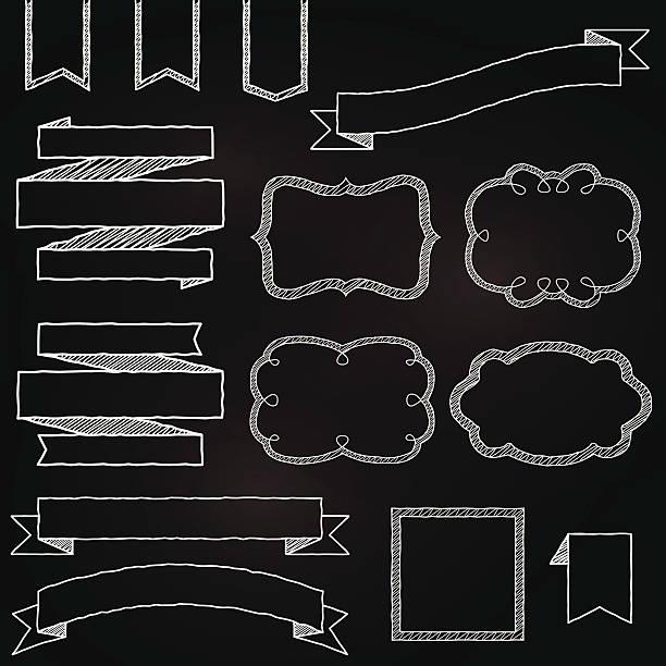 ilustraciones, imágenes clip art, dibujos animados e iconos de stock de vector collection of chalkboard estilo banners, cintas y marcos - marcos de garabatos y dibujados a mano