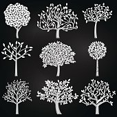 Vector Collection of Chalkboard Style Tree Silhouettes. Large JPG included. Each element is individually grouped for easy editing.