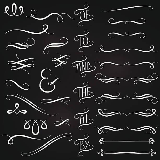 stockillustraties, clipart, cartoons en iconen met vector collection of chalkboard style words, decoration, ornaments and dividers - borden en symbolen