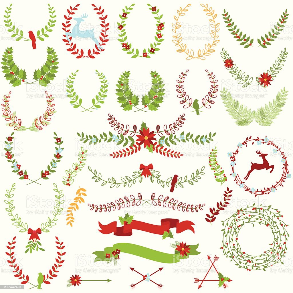 Vector Collection of Christmas Holiday Themed Laurels and Wreaths vector art illustration