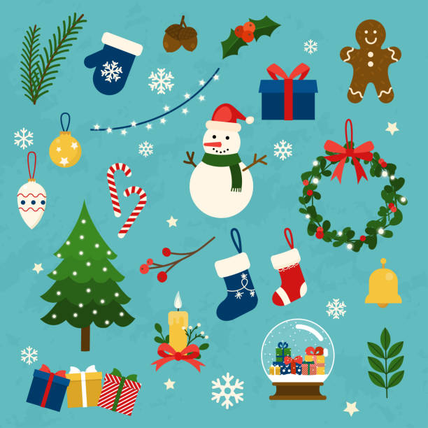 Vector collection of christmas items, elements and decorations. Flat design modern vector illustration concept. Vector collection of christmas items, elements and decorations. Flat design modern vector illustration concept. christmas icons stock illustrations