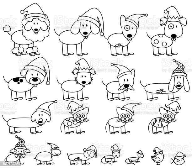 Vector collection of christmas themed stick figure pets vector id872870286?b=1&k=6&m=872870286&s=612x612&h=2w4 uuimvnqr 5p undffxpbchhifezmsws4qwfhhmu=