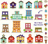 Vector Collection of City and Town Buildings, including various signs. No transparencies or gradients used. Each building is grouped individually for easy editing.