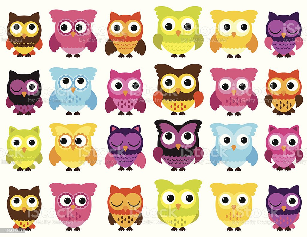 Vector Collection of Cute and Colorful Owls vector art illustration