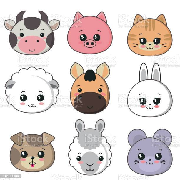 Vector collection of cute animal faces big icon set for baby design vector id1127111391?b=1&k=6&m=1127111391&s=612x612&h=4whh8lbxzixc6847ohuftsotfotx4dho3jdyiypylui=