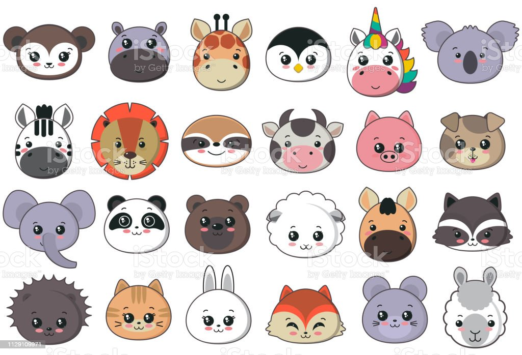 Vector collection of cute animal faces, big icon set for baby design....