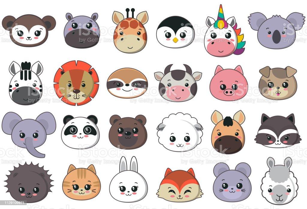 Coleção de vetores de bonito animal enfrenta, grande ícone definido para o projeto de bebê - ilustração de arte em vetor