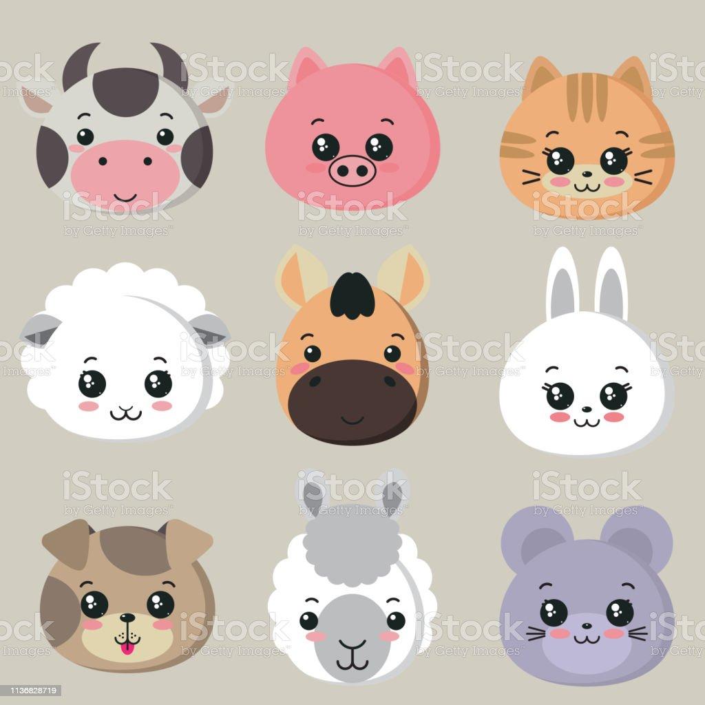 Vector collection of cute farm animal faces, icon set for baby design
