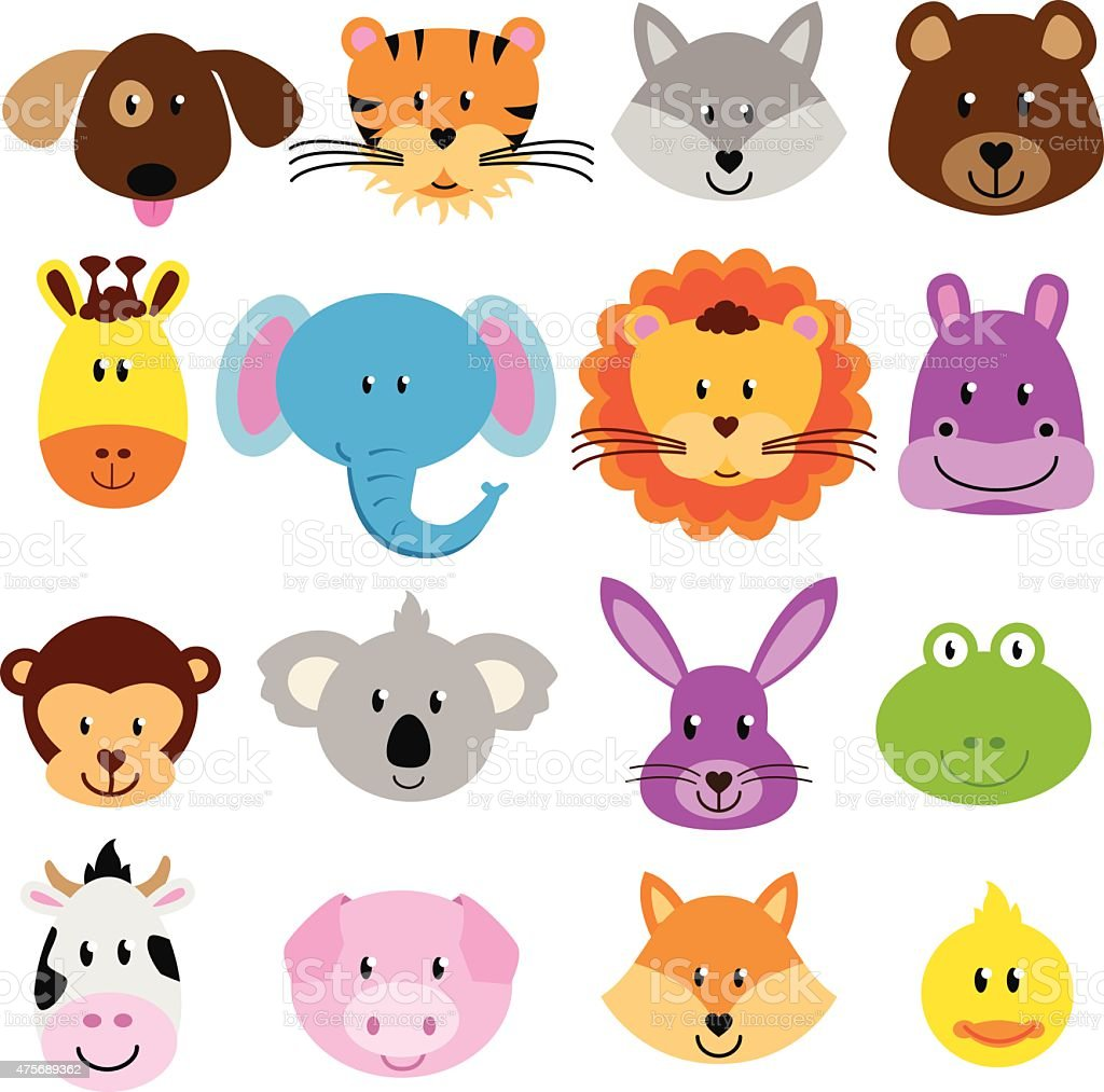 Vector Collection of Cute Animal Faces vector art illustration
