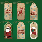 Collection of cute christmas gift tags with Santa and deer. Vector illustration