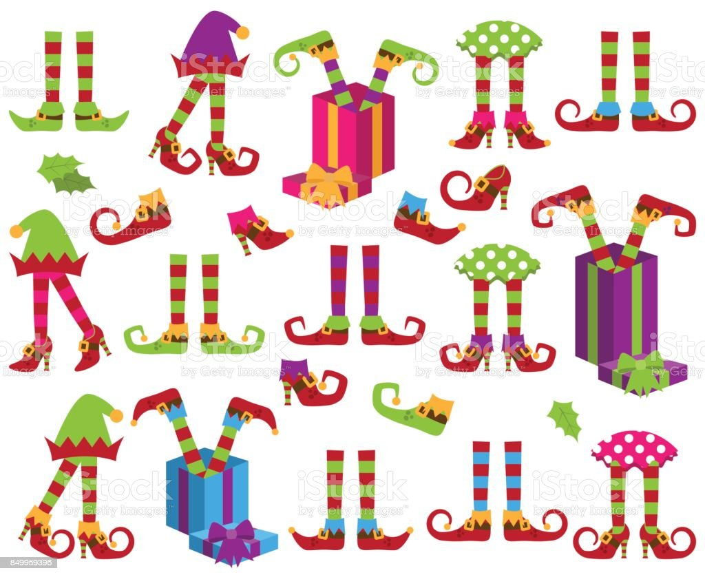 Vector Collection of Cute Christmas Holiday Elf Feet and Legs