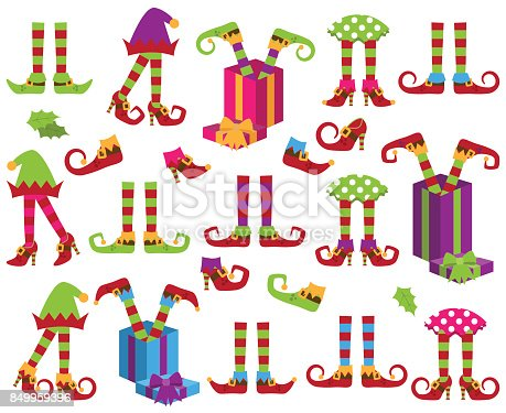 Vector Collection of Cute Christmas Holiday Elf Feet and Legs. No gradients or transparencies used.