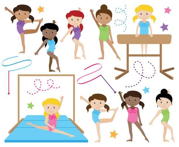 vektor-sammlung von niedlichen turnerinnen oder tänzer aus verschiedenen ethnien - spagat stock-grafiken, -clipart, -cartoons und -symbole