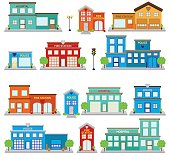 Vector Collection of Cute Fire Station Buildings, Hospitals and Clinics, and Police Stations
