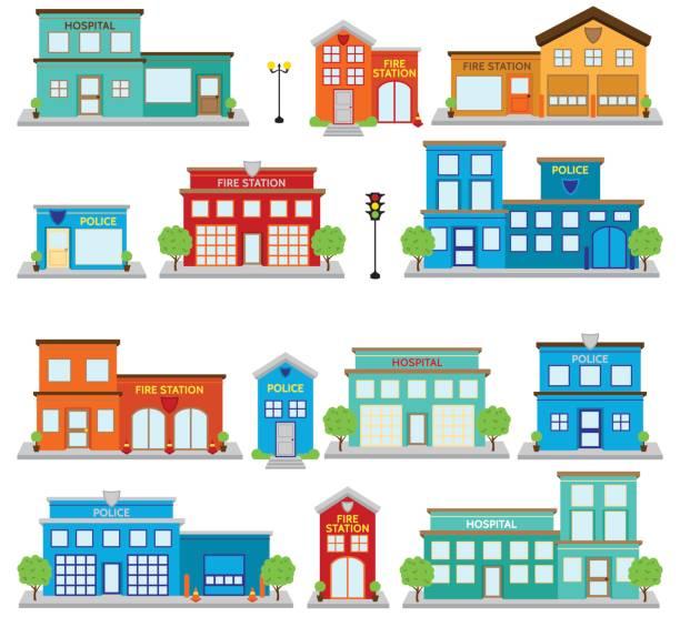 illustrations, cliparts, dessins animés et icônes de collection de vector de mignon fire station de bâtiments, les hôpitaux et cliniques et postes de police - commissariat