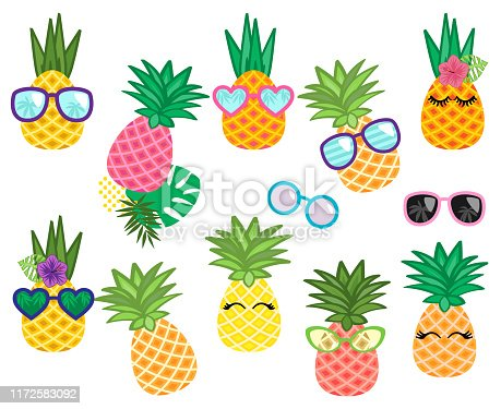 Vector Collection of Cute Kawaii Pineapples with Sunglasses