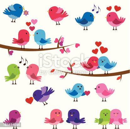 istock Vector Collection of Cute Love Birds 184414695