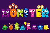Vector collection of cute Monsters, cartoon alphabet text MONSTER