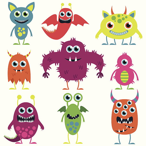 vector collection of cute monsters - cartoon monsters stock illustrations, clip art, cartoons, & icons