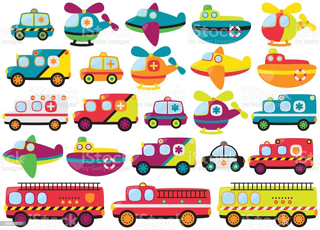 Vector Collection of Cute or Retro Style Emergency Rescue Vehicles vector art illustration