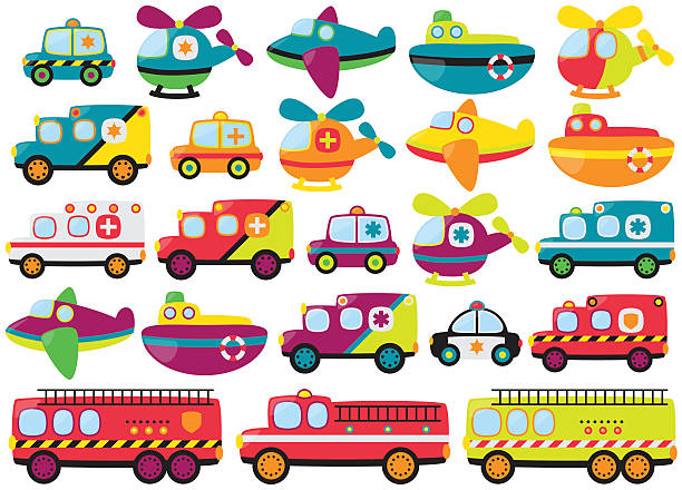 vector collection of cute or retro style emergency rescue vehicles - cartoon of a hazmat suit stock illustrations, clip art, cartoons, & icons