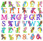 Vector Collection of Cute Unicorn Themed Alphabet Letters. Large JPG included. No gradients or transparencies used.