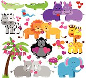 Vector Collection of Cute Valentine's Day Animals
