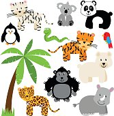 Vector Collection of Cute Zoo, Jungle or Wild Animals