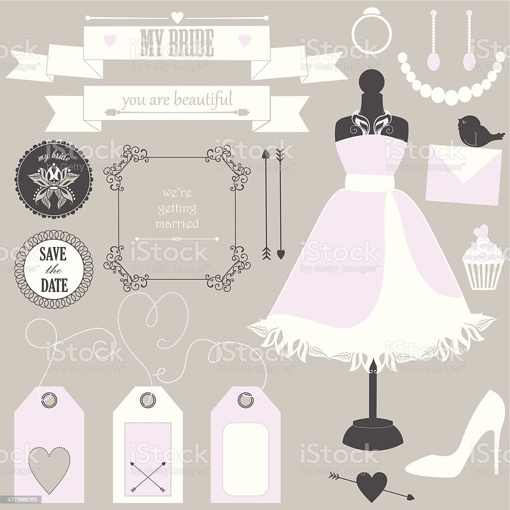 Vector collection of decorative wedding elements and signs for bride. royalty-free vector collection of decorative wedding elements and signs for bride stock vector art & more images of animal markings