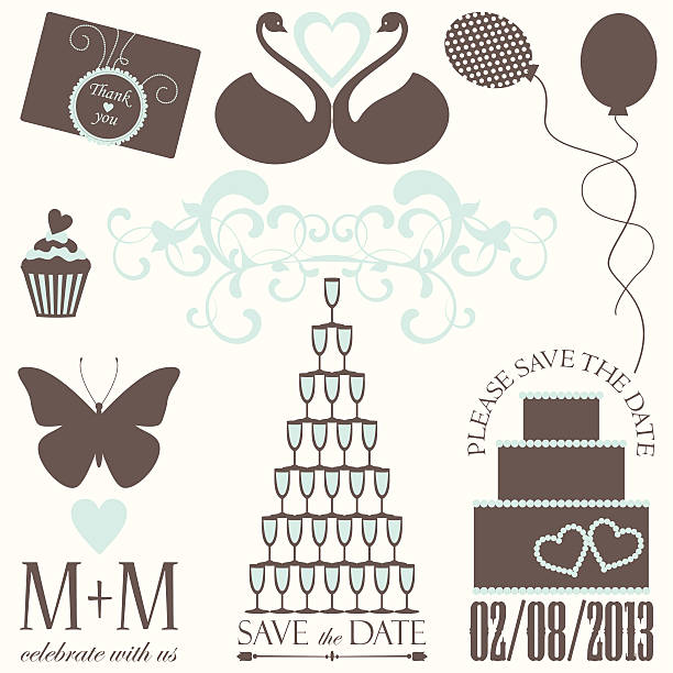 Vector collection of decorative wedding elements vector art illustration