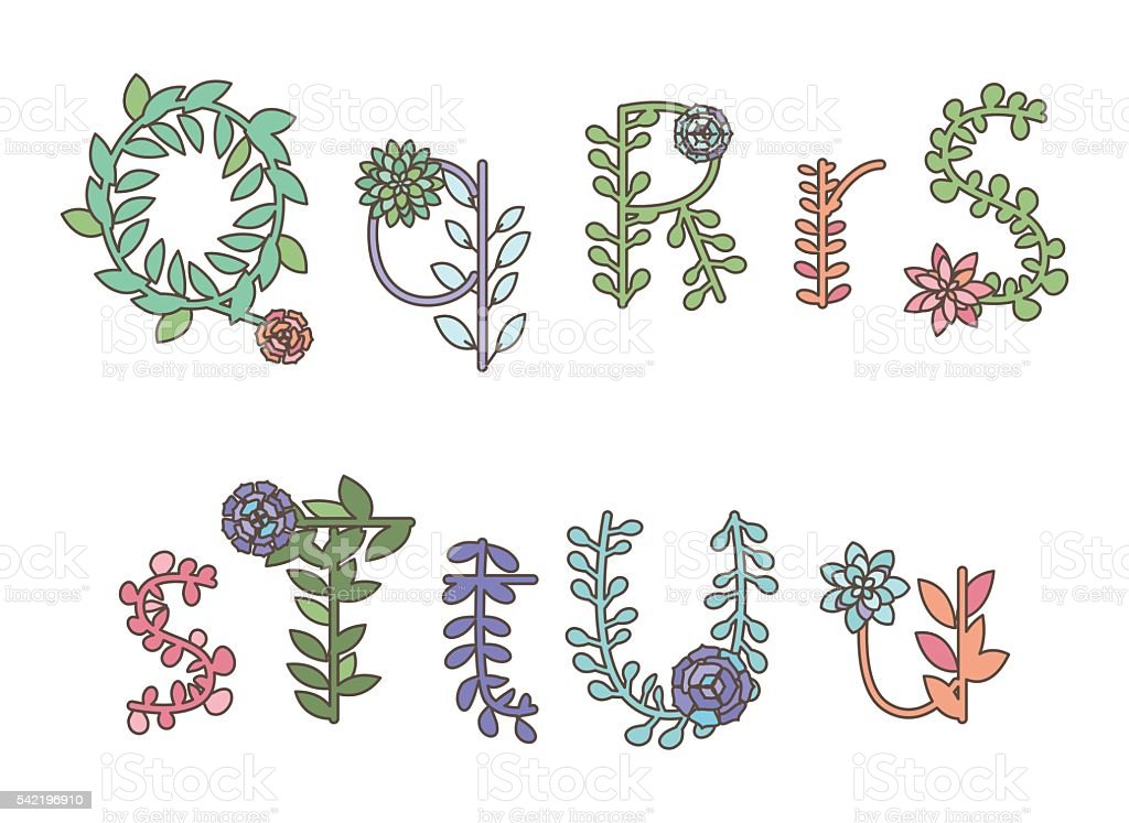 Vector Collection Of Detailed Succulent Or Cactus Letters ...