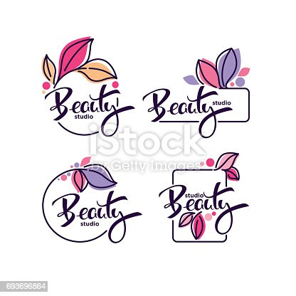 vector collection of doodle flowers emblems frames and icon with beauty studio lettering composition