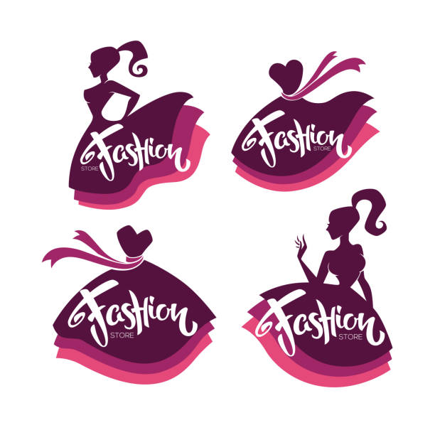 vector collection of fashion boutique and store logo, label, emblems with lady silhouettes, bright  dresses and lettering composition - butik stock illustrations