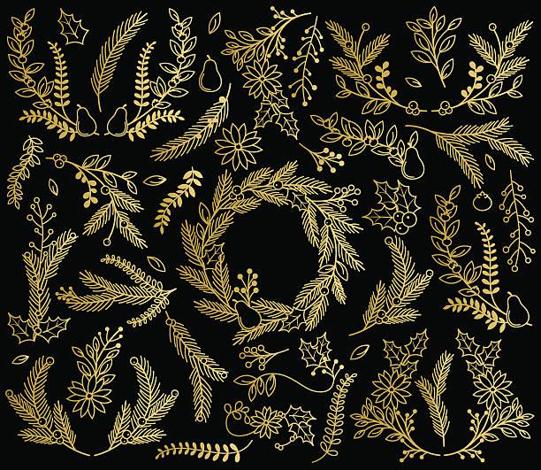 vektor-sammlung von dekorativen goldfarbene weihnachtszeit blumenmuster - blumengirlanden stock-grafiken, -clipart, -cartoons und -symbole