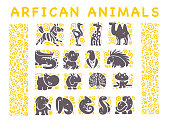 Vector collection of flat African cute animal icons isolated on white background. Tribal style animals and birds symbols. Hand drawn emblems. Perfect for icon design, infographic, prints etc.