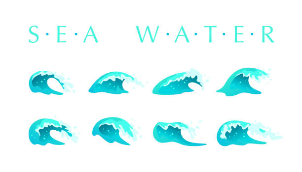 Vector collection of flat blue water waves, splatters, curves icons isolated on white background. vector art illustration