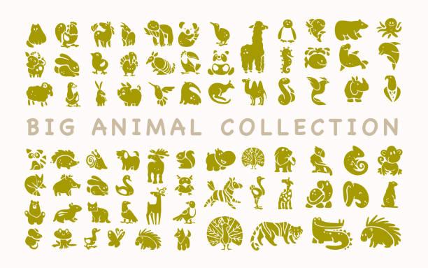 フラットかわいい動物アイコンは白い背景で隔離のベクトルのコレクションです。 - 動物園点のイラスト素材/クリップアート素材/マンガ素材/アイコン素材