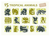 Vector collection of flat cute animal icons isolated on white background. Tropical animals and birds tribal symbols. Hand drawn emblems. Perfect for icon design, infographic, prints etc.