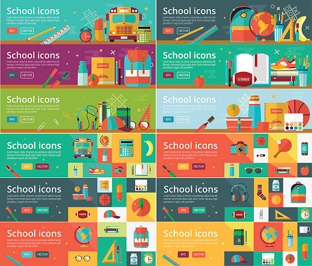 Vector collection of flat education design concepts. Horizontal banners set - Illustration vectorielle