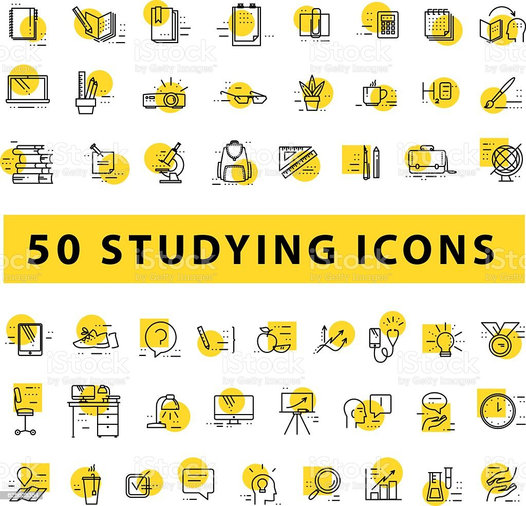 Vector collection of flat simple linear education icons vector art illustration