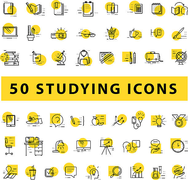 vector collection of flat simple linear education icons - science class stock illustrations, clip art, cartoons, & icons