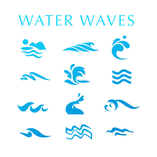 Vector collection of flat water wave icons isolated on white background. Vector collection of flat water wave icons isolated on white background. Water logo, emblem design. Blue water splashes symbol, ocean, different sea waves rolling sign. tide stock illustrations
