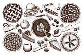 Vector collection of  fruit and berry baking illustration.