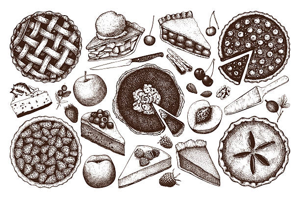 Vector collection of  fruit and berry baking illustration. – Vektorgrafik