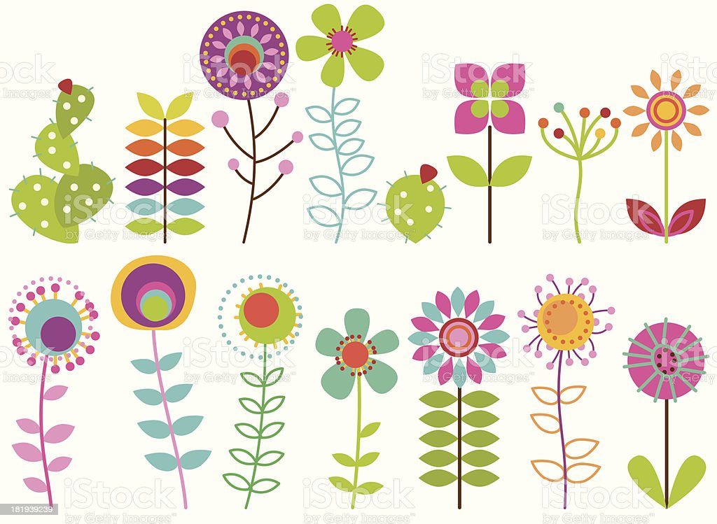 Colección vectorial de flores Retro estilizado Funky - ilustración de arte vectorial