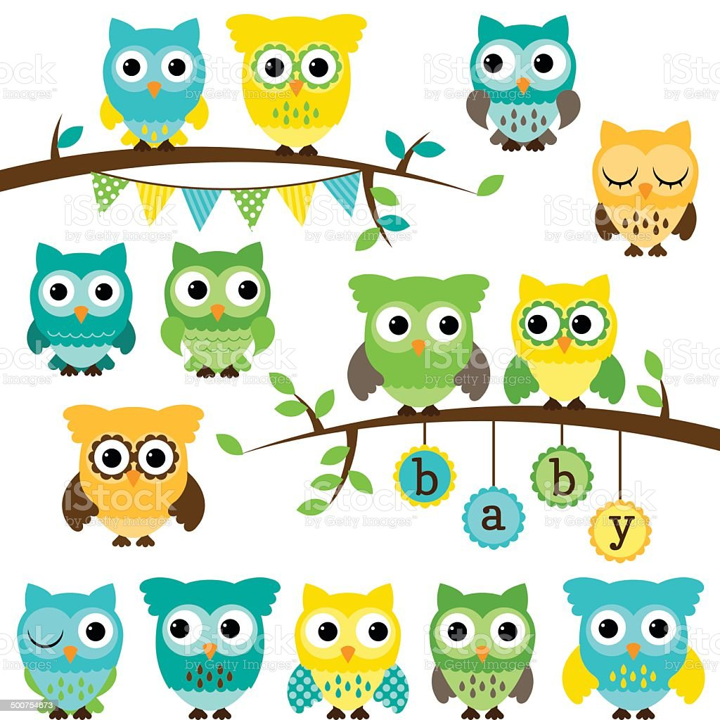 Vector Collection of Gender Neutral Baby Shower Themed Owls vector art illustration
