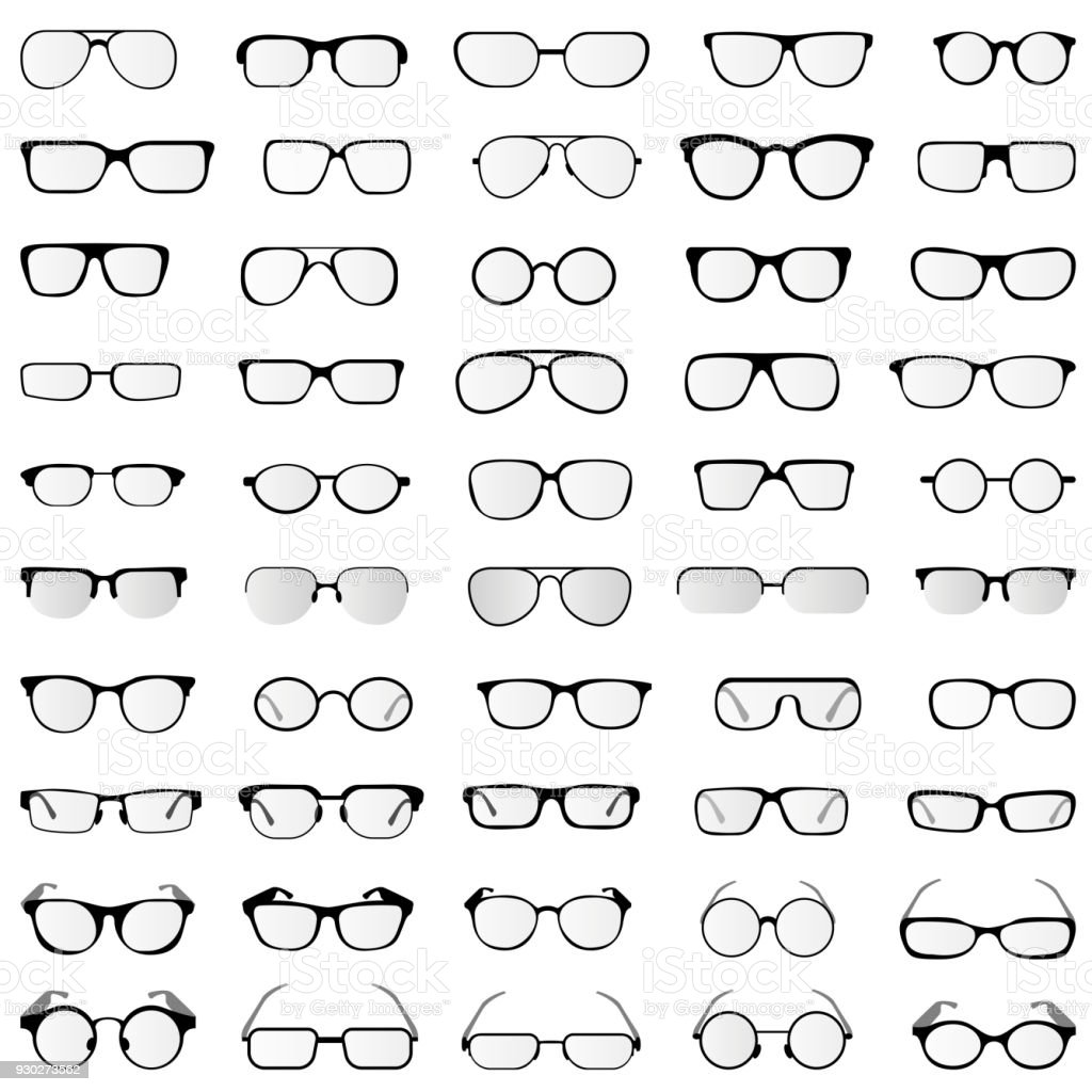 vector collection of glasses and sunglasses in different styles and forms vector art illustration