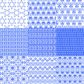 Vector collection of Greek traditional seamless patterns