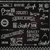 Vector Collection of Hand Drawn Chalkboard Style Words and Elements