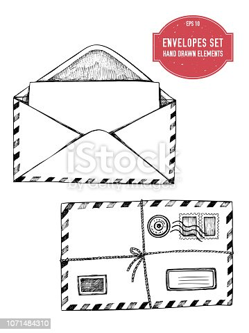 Stock illustration vector collection of hand drawn envelopes